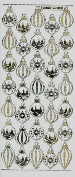 Stickervel kerstballen goud transparant MD357005 (Locatie: u037)