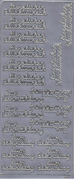 Stickervel zum geburtstag zilver 3611 (Locatie: D51 )
