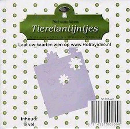 Tierelantijntje kartonnen deco-bloemen uit stansvellen 5 vel wit N1301 (Locatie: N211 )