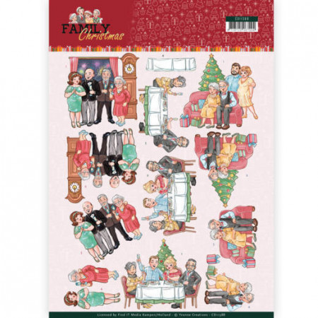 Yvonne Creations knipvel kerst met de familie CD11388 (Locatie: 2452)