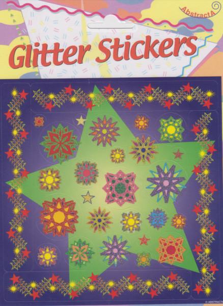 Abstracta glitter stickers kerstmis (Locatie: 1217)