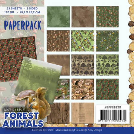 Amy Design, Paperpack, 15.2 x 15.2 cm, Forest Animals, ADPP10038