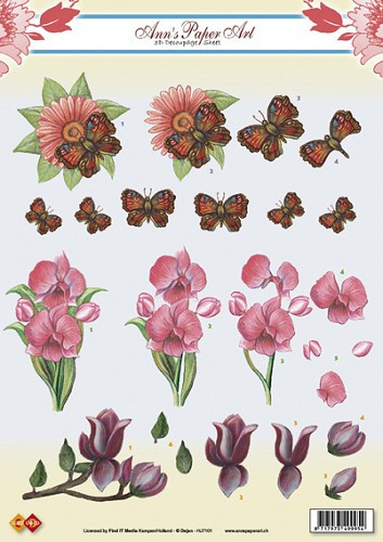 Ann's Paper art knipvel bloemen en vlinders HJ7101 (Locatie: 2338)