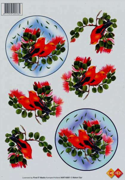 Card Deco knipvel vogels MAT10001 (Locatie: 2570)