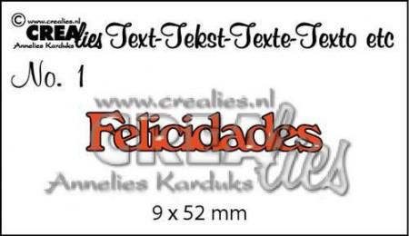 Crealies tekststans Felicidades (Spaans: Gefeliciteerd) CLES01 (Locatie: C381)