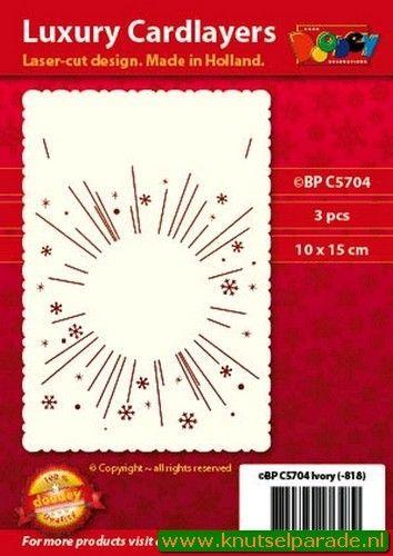 Doodey luxe oplegkaart A6 vuurwerk ivoor 3 stuks BPC5704 (Locatie: T147 )