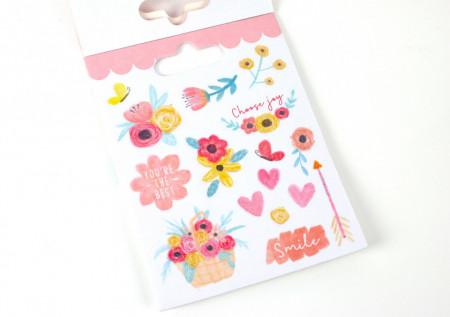 Dovecraft bloemen glitter sticker boek, 8 vel (Locatie: c153)
