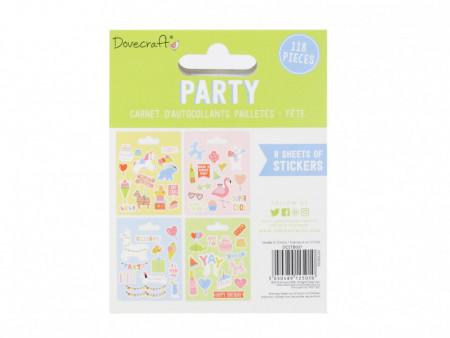 Dovecraft Party glitter sticker boek, 8 vel (Locatie: h448)