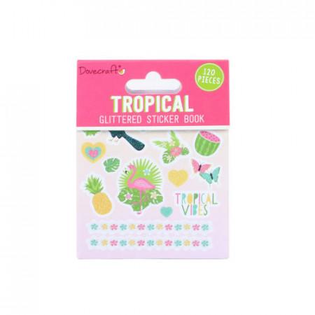 Dovecraft tropical glitter stickerboek, 8 vel (Locatie: c035 )