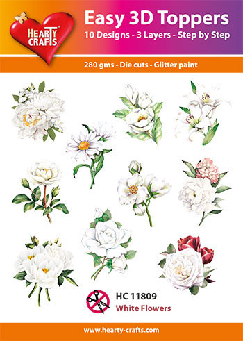 Hearty Crafts Easy 3D Toppers White Flowers HC11809 (Locatie: K2)