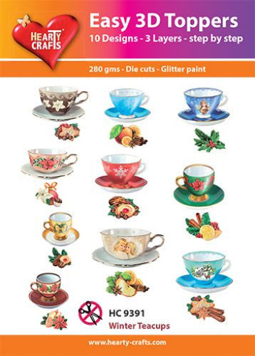 Hearty Crafts Easy 3D Toppers Winter Teacups HC9391 (Locatie: K2)