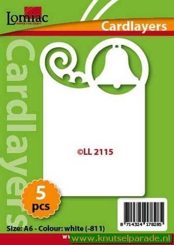 Lomiac oplegkaarten kerstkrul en klok wit 5 stuks LL 2115 (Locatie: N085 )
