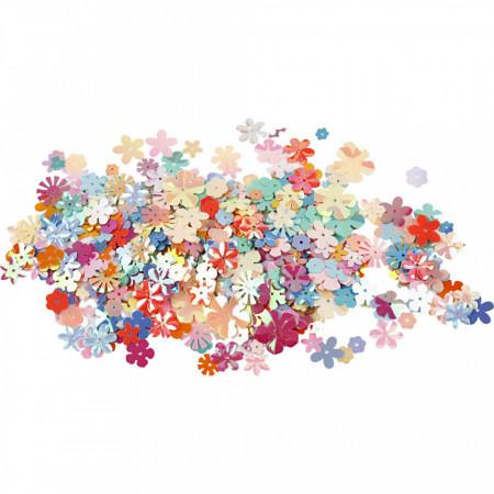 Pailletten, grootte: 5-20 mm, circa 390 stuk, bloemen, 10gr