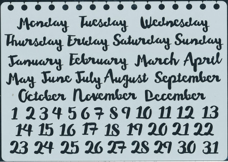 Papicolor Stencil Bulletjournal months/days 15x21cm. 830211 (Locatie: 4639)