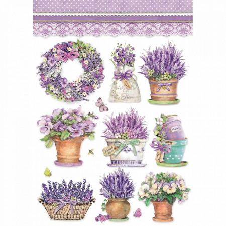 Stamperia Rice Paper A4 Lavender Vase DFSA4456 (Locatie: 0819)
