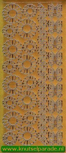 Starform sticker bloemen goud 1065 (Locatie: N171)