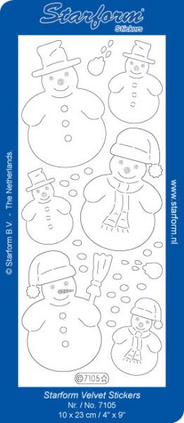Starform sticker sneeuwpoppen velvet wit 7105 (Locatie: C307)