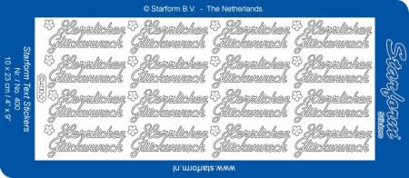 Starform sticker zilver Herzlichen Glückwunsch 400 (Locatie: F166)