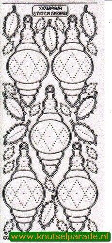 Starform stickervel borduurdesign glitter zilver kerst 3218 (Locatie: I314 )