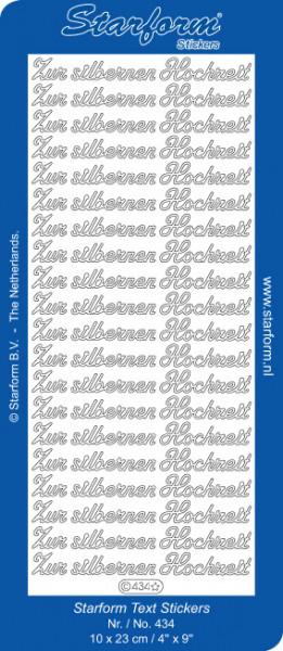 Starform stickervel zilver Zur silberen Hochzeit 434 (Locatie: T009)
