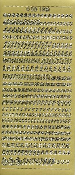 Stickervel alfabet sierlijk (klein) goud DD1583 (Locatie: U057)