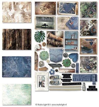 Studio Light Easy Die Cut Paper Set Denim Saturdays EASYDEN645 (Locatie: s2)