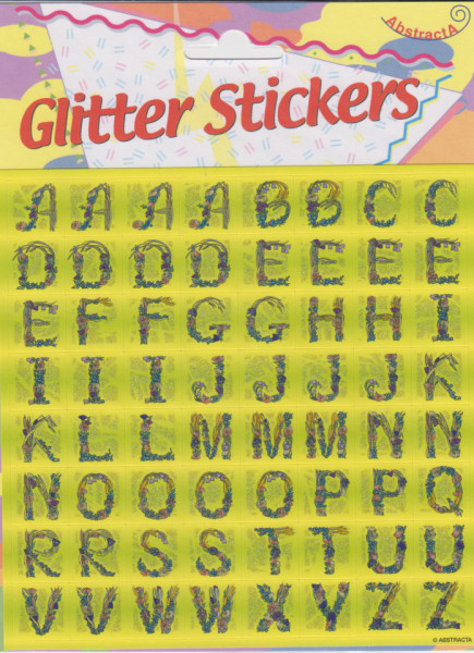 Abstracta glitter stickers letters (Locatie: 1217)