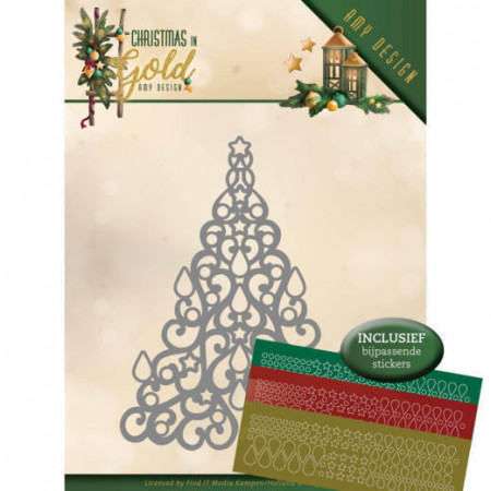 Amy Design snijmal Christmas in Gold - Christmas Tree Hobbydots ADD10182 (Locatie: M039)