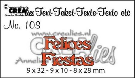 Crealies tekststans Felices Fiestas (Spaans: Fijne Feestdagen) CLES103 (Locatie: C382)