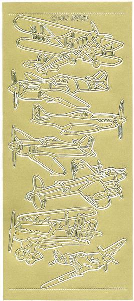 Doodey stickervel oude vliegtuigen goud DD5903 (Locatie: G089)
