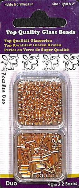 Glazen kralen/rocailles 2 x 4 gr. goud 12106-0601 (Locatie: K3)