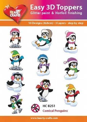 Hearty Crafts Easy 3D Toppers - Pinguins 10 designs HC8251 (Locatie: 5R )