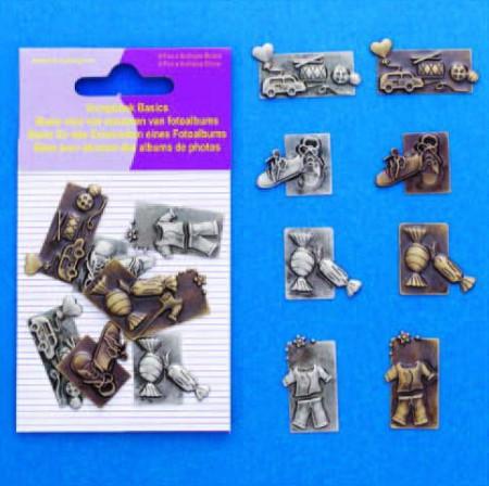 Hobby & Crafting Fun scrapbook bedels kinderen 8 stuks 11810-4007 (Locatie: K3)
