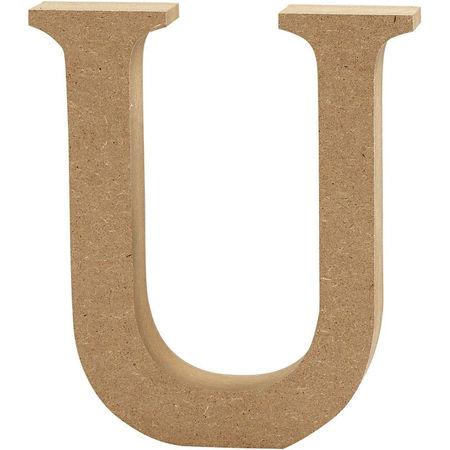 Letter U, hoogte 13 cm, dikte 2 cm, MDF, 1stuk (Locatie: KB)