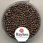 Rayher rocailles 2 mm koper met zilverdetail 17 gr. 1406424 (Locatie: K3)