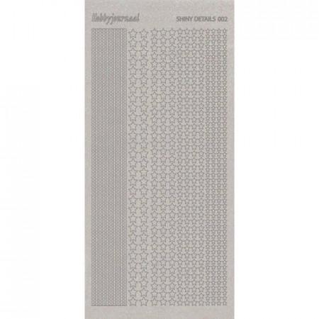 Shiny details stickervel glitter zilver sterren SDS002TZ (Locatie: D53)