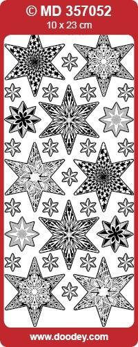 Stickervel kerstmis sterren transparant zilver MD357052 (Locatie: U254)
