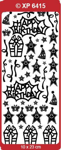 Stickervel verjaardag roze glitter XP6415 (Locatie: A008)