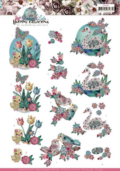 Yvonne Creations knipvel kitschy birds CD11437 (Locatie: 0331)