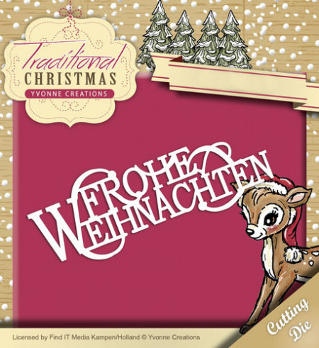 Yvonne Creations snijmal Frohe Weihnachten YCD10058 (Locatie: k145)