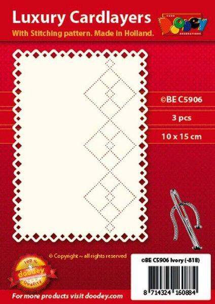 Doodey oplegkaarten met borduurpatroon 3 stuks ivoor BEC5906 (Locatie: k045)