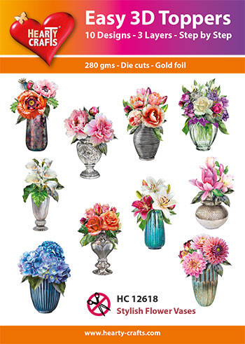 Hearty Crafts Easy 3D Toppers Stylish Flower Vases HC12618