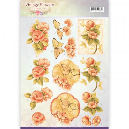 Jeanine's Art knipvel vintage flowers CD11047 (Locatie: 5540)