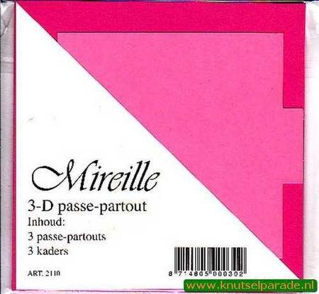 Mireille vierkante kaart roze 13,5 cm x 13,5 cm 3 stuks 2110 (Locatie: D90 )