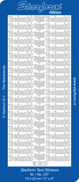 Starform sticker zilver bedankt 237 (Locatie: A280)