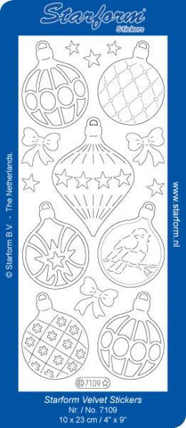 Starform stickervel kerstballen velvet wit 7109 (Locatie: C297)