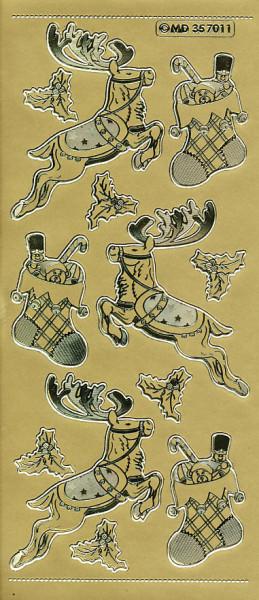 Stickervel goud kerstmis MD357011 (Locatie: e097)
