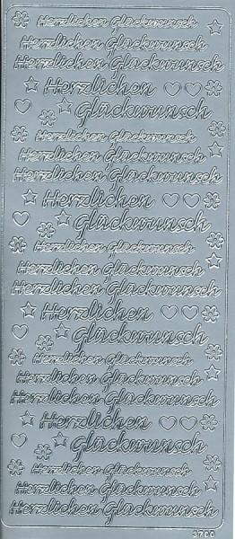 Stickervel Herzlichen Glückwunsch zilver 3700 (Locatie: u249)
