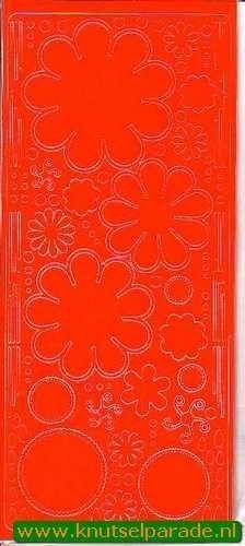 Stickervel oranje bloemen 0400 (Locatie: S109 )