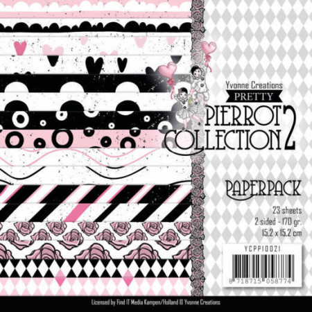 Yvonne Creations, Paperpack, 15.2 x 15.x cm, Pierrot Collection 2, YCPP10021